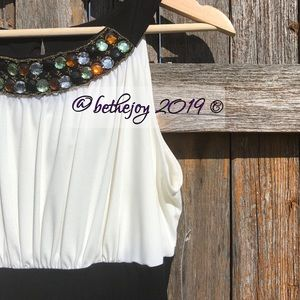 🌹NWT {sz 6} B&W dress w/ jewel neckline detail🌹